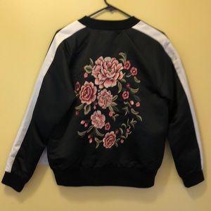 Forever 21 Black Bomber Jacket W/ Floral Design